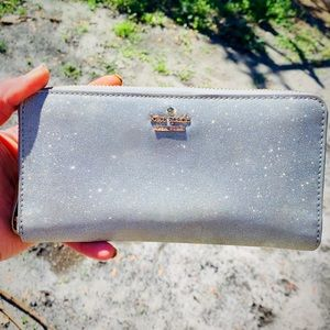 Kate Spade Silver Glitter Burgess Court Zip Wallet